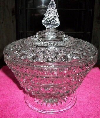 Pressed Glass Candy Dish Diamond Design with Lid Vintage