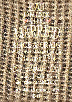 50 Hessian Burlap Rustic Vintage/Country Shabby Chic Wedding Invitations!