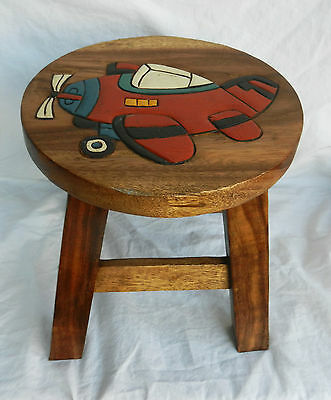 Chunky Hand Carved Solid Wooden Child's Stool - Aeroplane Design - NEW