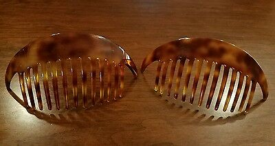Vintage Classic France Haircombs Pierre Olivier Faux Tortoise Shell Set of 2