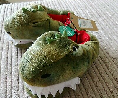 Childs Novelty Slippers  ** Size 6/7 ** Dinosaur ** Soft soles ** NWT