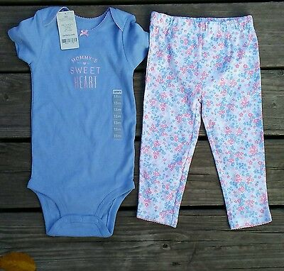 INFANT BABY TODDLER GIRLS 2Pc OUTFIT by CARTER'S SIZE 18M 18 MOS. BLUE