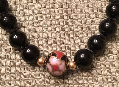 """Vintage 32"""" Chinese 14k & Onyx Cloisonne Bead Necklace"""