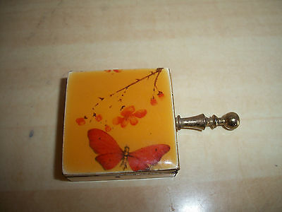 Vintage Butterfly Design Top Handled Pill Box