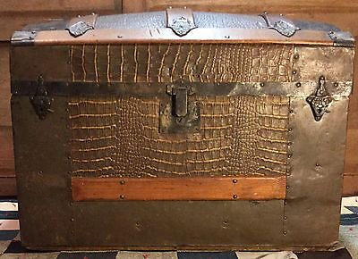 Antique Dome Top Trunk Steamer Camel