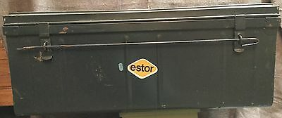 Vintage Sturdy Metal Steamer Shipping Trunk Container Foot Locker