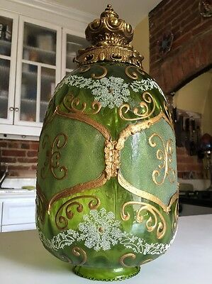 Antique Painted Glass Shade For Ceiling Fixture Victorian