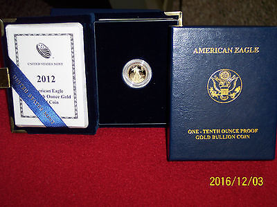 2012-w proof gold american eagle 1/10oz lowest minted $5 proof(20,740)