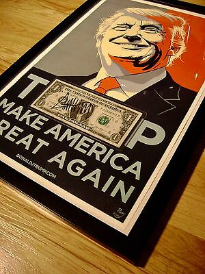 Donald Trump Signed Dollar, Print Signed, COA  Authentic Autograph Will Pass PSA