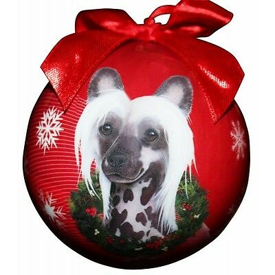 Chinese Crested Shatterproof Ball Dog Christmas Ornament