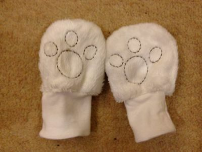 Baby Girls Lovely Fluffy Mittens With Bear Paw Print 3 Months M&s