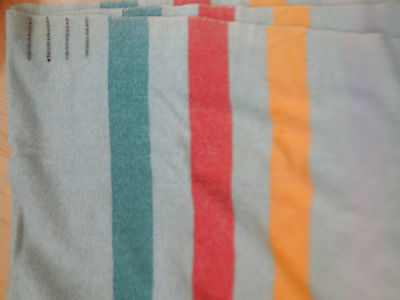Vintage Green Wool 4 Point Striped Camp Cottage Traders Blanket Red Yellow
