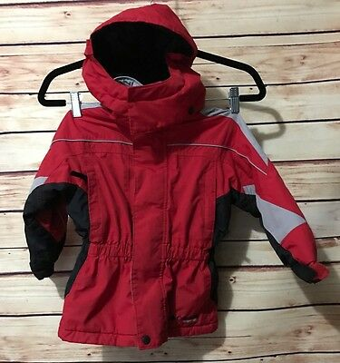 COLUMBIA Size 4T Toddler Vertex Hooded Red/Gray/Black Winter Jacket Coat Snow