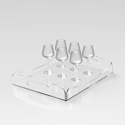 New Modern Clear Acrylic Serving Trays for Cocktails Drink Food Party Bar