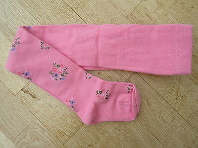 Girls Thick Tights Pink with Flowers 2-3 years NEW