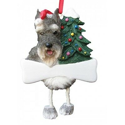 Schnauzer Cropped Dangling Wobbly Leg Dog Bone Christmas Ornament