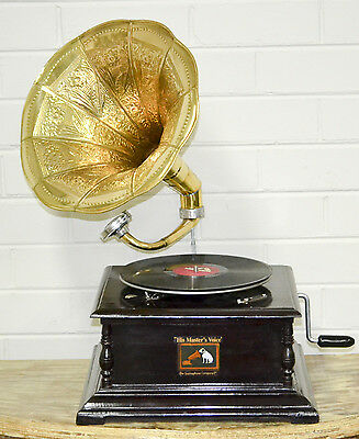 Antique Wind Up Gramophone Turntable Brass Horn Vintage Industrial Collectable