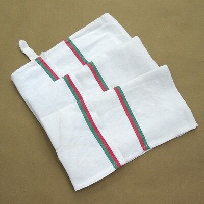 Vintage French Dish Towel, Red and Green Stripes