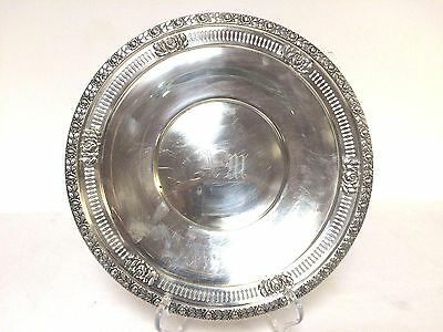 """Vintage Sterling Silver Reticulated Plate 10"""" Royal Rose Pattern Hall Mark  M"""