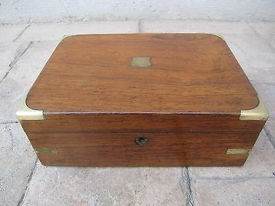Antique Writing Lap Desk With Brass Corners And Edges