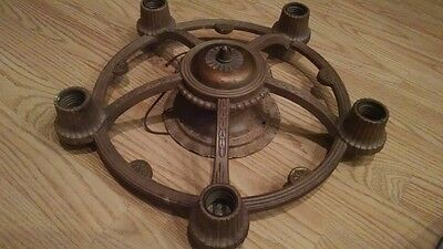 "Antique/Vintage 15"" Bronze Cast Metal Mount Ceiling Light Fixture 5 Socket Deco"