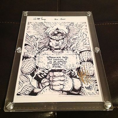 """2012 Marvel Premier Mighty Thor Original Sketch Art And Print Drawn By """"NAR!!"""""""