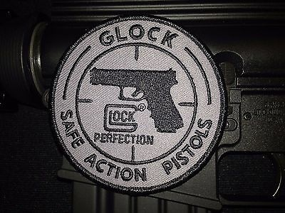 Glock Charcoal & Blk Safe Action Pistols Logo Patch Velcro Perfection 9Mm .40 45