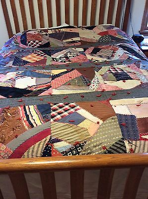 """Antique Crazy Quilt, Tied And Stitched, 81"""" X. 70"""", Needs TLC"""