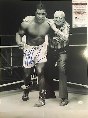 Mike Tyson with Cus D'Amato Autographed 16x20 Boxing Photo JSA Witnessed COA