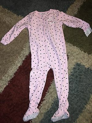 5T Carter's Girls Fleece Footed Pajamas - Pink with Hearts and Bunny