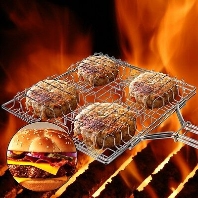 Kalrede burger basket grill with wood handle burger grill  for Burgers or BBQ