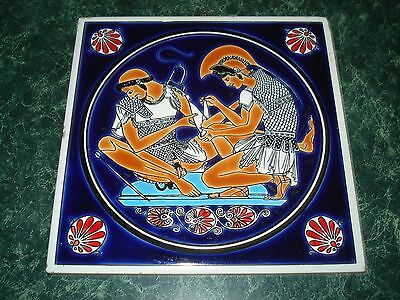 """Hand Made Tile Niarchos Hellas   """" Wounded Soldier """" .....   Bit Naughty"""