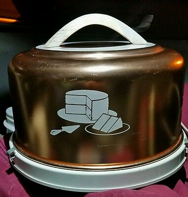 vintage mirro cake keeper aluminum copper color