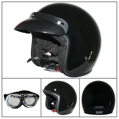 Leopard LEO-604 Open Face Motorcycle Scooter Helmet Crash Black + Free Goggles