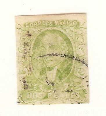 Mexico,1856,Scott#3,2 reales,Olive Green,Mexico Cds