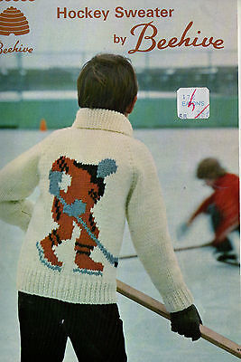 Knitting Pattern Boys Hockey Cardigan Sweater By Beehive Sz. 8-10-12