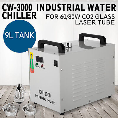 Industrial Water Chiller cool single 60W 80W CO2 Laser Tube CW-3000DG 220V 60HZ