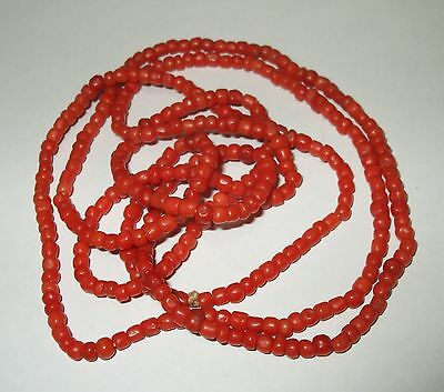 "Antique Salmon Red Coral String Strand Bead Necklace No Clasp Flapper 40""x3MM"