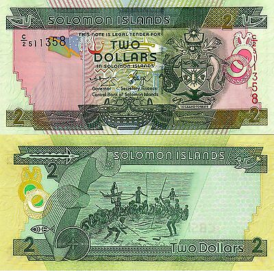 SOLOMON ISLANDS 2 Dollars $2 Crocodile Whale Spear Fishing Stunning Banknote UNC