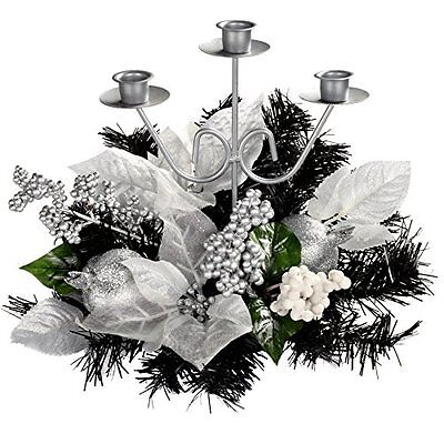 WeRChristmas Decorated Triple Tape Candle Holder Table Christmas Decoration, 22