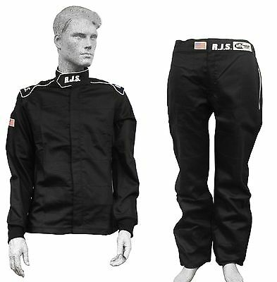 Fire Suit Sfi 3-2A/1 Black 2 Piece Med Lrg Xl 2X 3X 4X Rjs Racing Elite Driving
