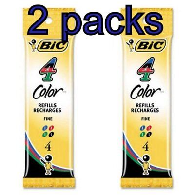 Value Pack of 2 - 8 total Refills for Bic 4-Color Retractable Ballpoint Pen,