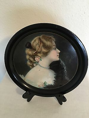 Antique Tin Serving Tray/beautiful Victorian Lady/beer/brewery/meek Company/1907