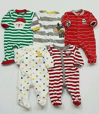 Baby Boy's Lot Of 5 Carter's Footie Pajamas Size Nb Fall Winter