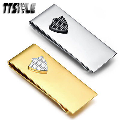 Quality TTstyle 316L Stainless Steel Shield Money Clip Silver/Gold NEW