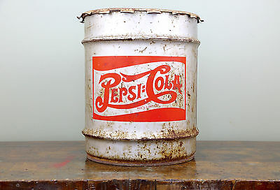 1930s PEPSI COLA SYRUP CONTAINER SODA CAN RARE ORIGINAL DRUM SIGN bottle W/ LID