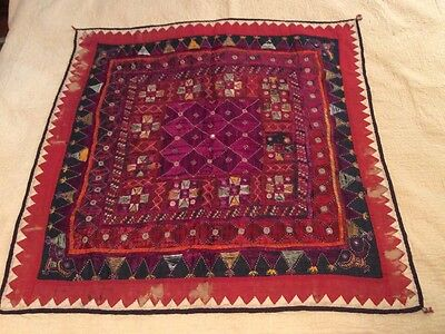 Antique Ethnic Hindu Kutch Chakla Silk Embroidery Susani Textile Wall Tapestry