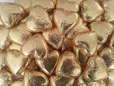 100 Pieces Pink Lady Gold Chocolate Hearts - Wedding Favour Lollies