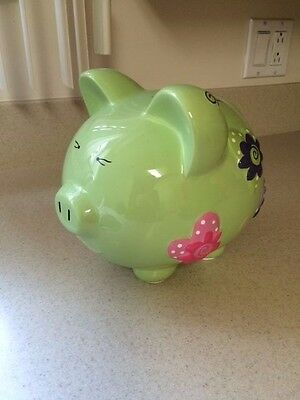 Large Hand Painted Ceramic Piggy Bank Personalized Maria:  NEW