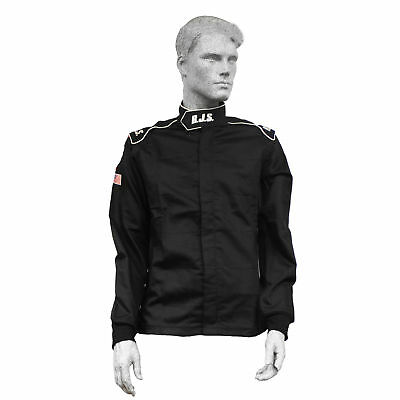 Fire Suit Sfi 3-2A/1 Jacket Black 4X Rjs Racing Elite Single Layer Fr Cotton
